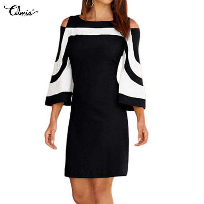 2018 Autumn Women Cold Shoulder Dress Elegant Black White Colorblock 3/4 Sleeve Dresses Casual Office Ladies Work Wear Vestidos