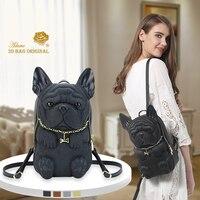Adamo 3D сумка оригинальный Фреда Французский бульдог Back Pack 2018 Новая мода молния дамы рюкзак высокое качество