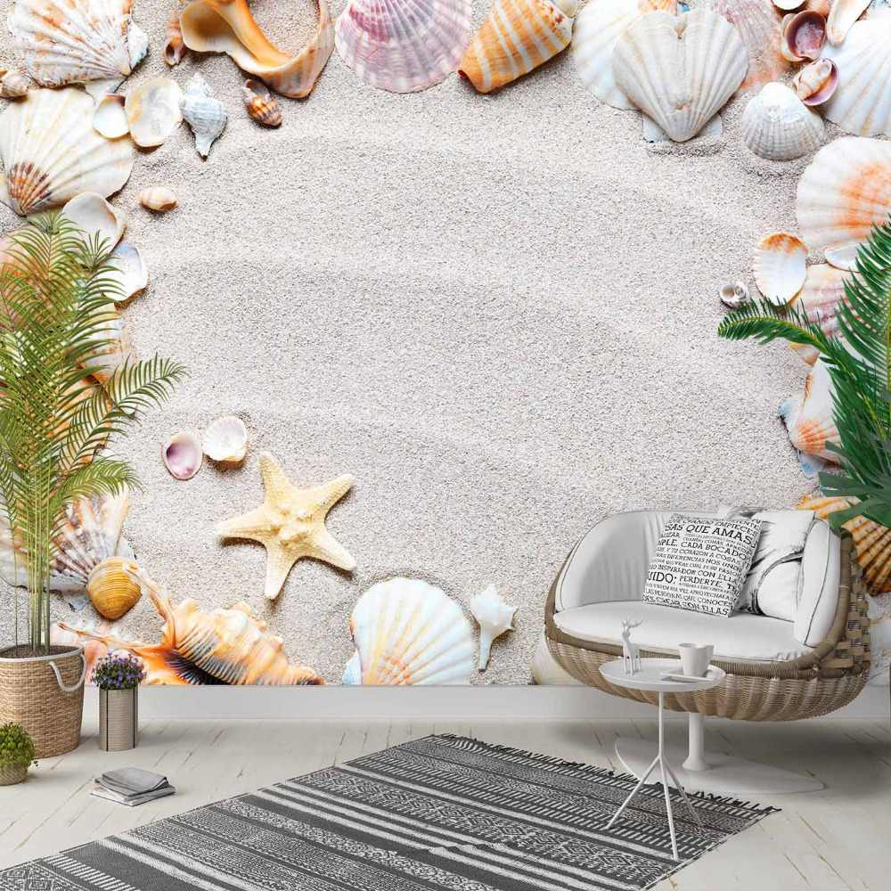 他熱帯ブラウン砂浜に貝殻 3d 写真洗浄可能生地壁画家の装飾リビングベッドルームの背景壁紙 Gooum