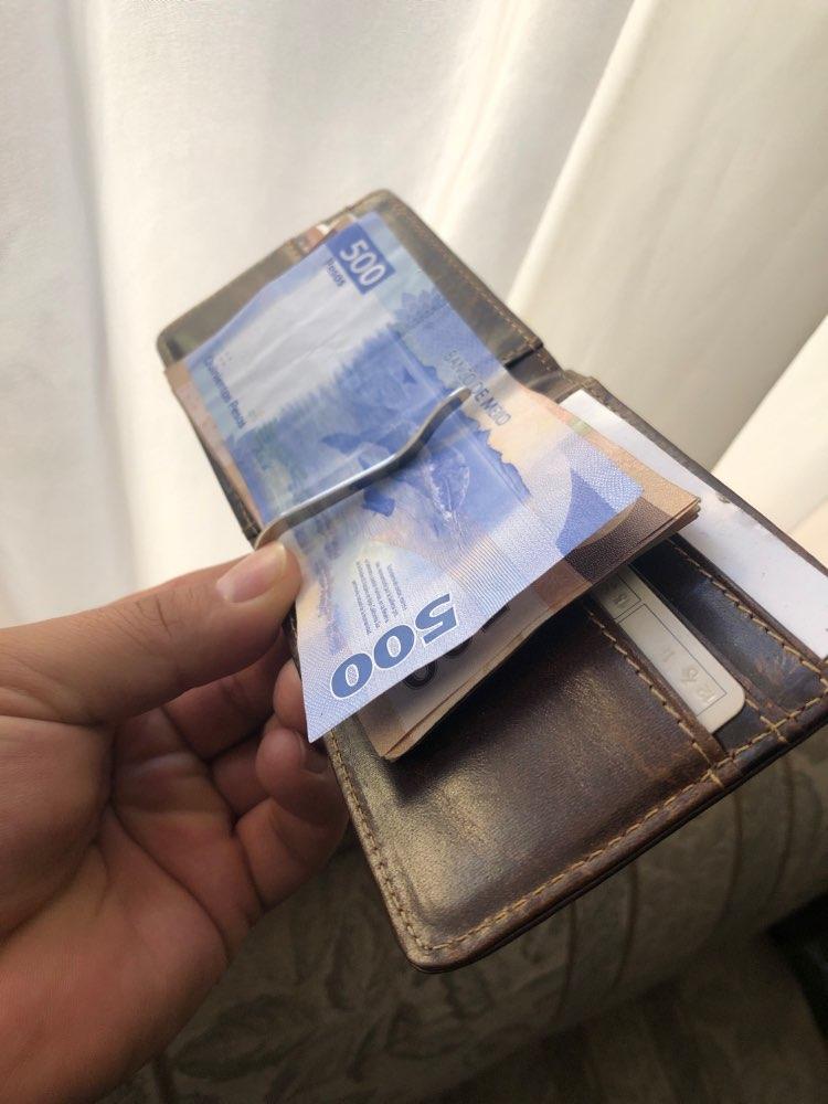 Quality Male Genuine Leather Design Fashion  Slim Wallet Front Pocket Money Clip Mini Bill Purse For Men 1055c photo review