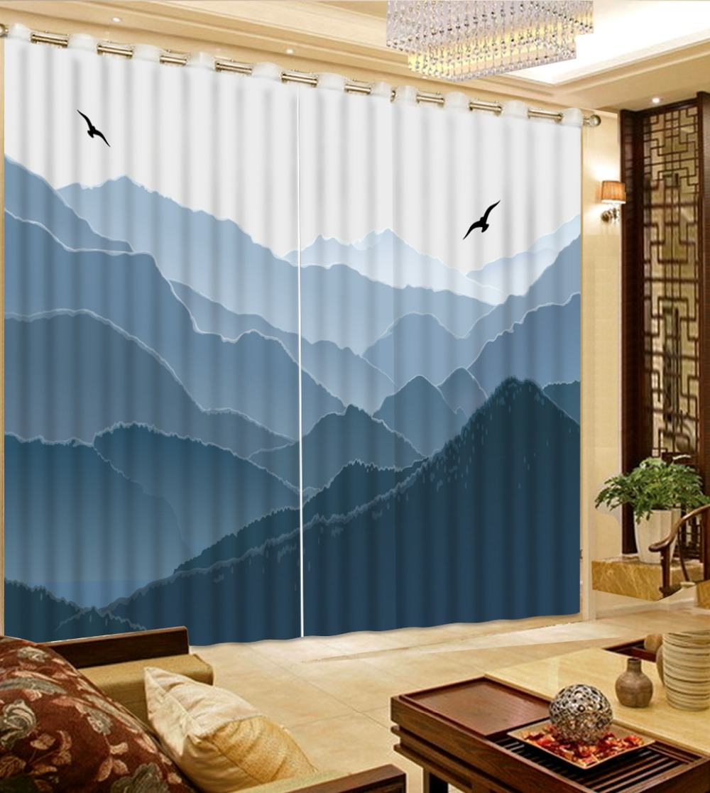 Modern fantasy high mountains Window Curtains Custom Landscape Curtain Fabric Kitchen Shower Curtain