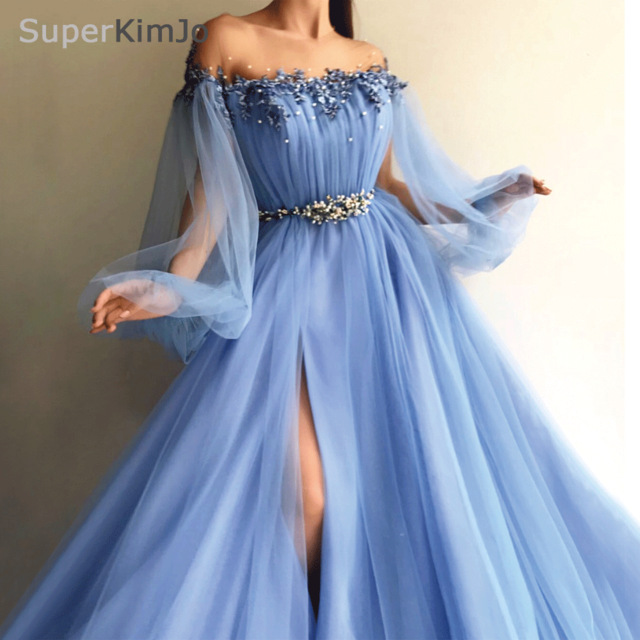 SuperKimJo Long Sleeve Beaded Prom Dresses 2019 Arabic Style Blue Tulle  Applique Prom Gown with Side Slit Robe De Soiree 6659ec260e1d