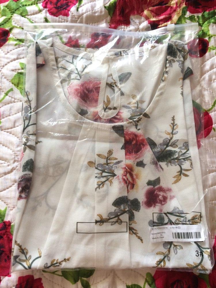 Beige Cap Sleeve Casual Tops Office Ladies Round Neck Regular Fit Floral Asymmetrical Elegant Women Summer Blouse photo review