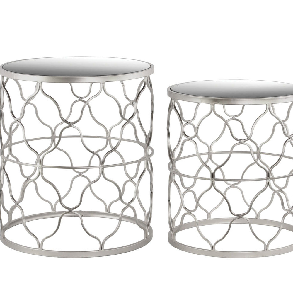 Urban Trends Metal Round Nesting Table with Mirror Top, Quatrefoil Lattice Design and Round Base Set of Two Metallic Finish цена 2017