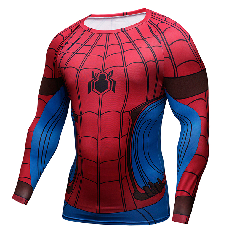 ec2412f0b4161 Marvel 3D Spiderman Flashman Black Panther Deadpool Crossfit T Shirt Men  Long Sleeve Funny T Shirt Compression Fashion Tshirt-in T-Shirts from Men s  ...