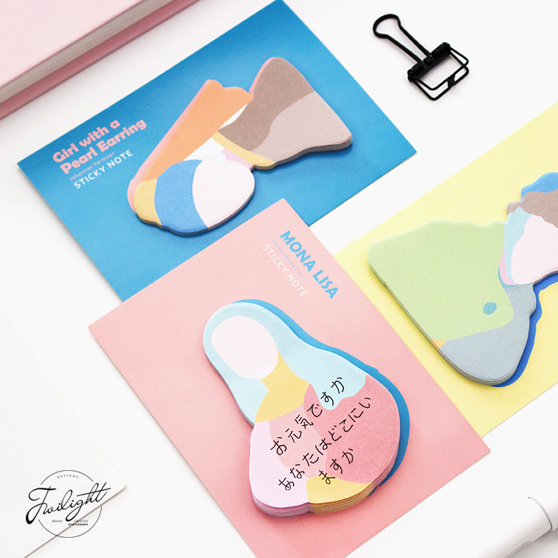20 sets/1 lot Creative Oil painting figure Memo Pad Sticky Notes Escolar Papelaria School Supply Bookmark Post it Label