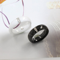 6mm S925 Sterling Silver Ceramic Dome Ring Women Men Polished Embedded Electroplated Jewelry