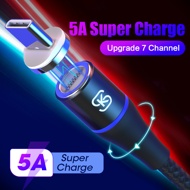 SIKAI 3 in 1 USB Cable 5A Quick Charge Magnetic Car Charger for Huawei honor view 20 C QC4.0 10 30pro