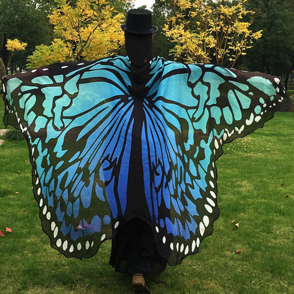 Fashion Butterfly Wing Beach Towel Cape Scarf for Women Christmas Halloween Gift