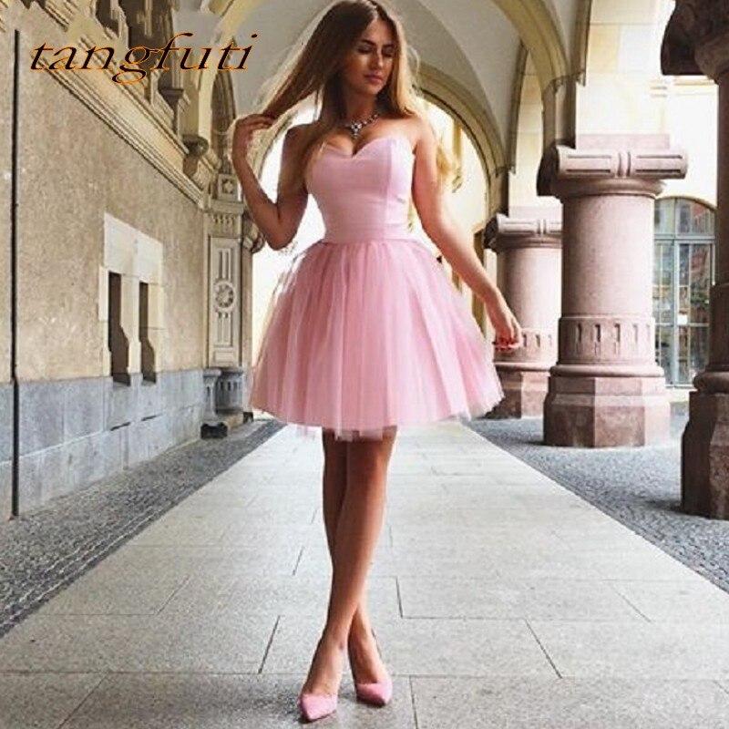 Pink Sweetheart Cocktail Dresses Women Cocktail Party Short Prom Dress Formal Dress vestido de festa curto coctel for Graduation