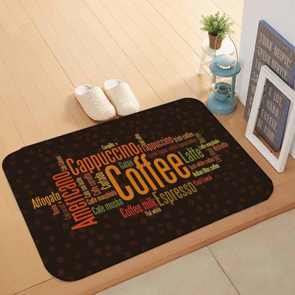 Else Brown Floor Orange Green Yellow Coffee Latte Writen 3d Pattern Print Anti Slip Doormat Home Decor Entryway Kitchen Mat