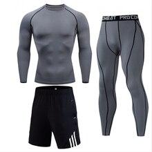 Мужской компрессионный комплект 1-3 шт. Фитнес Quick Dry Футболка Леггинсы Шорты спортивный костюм