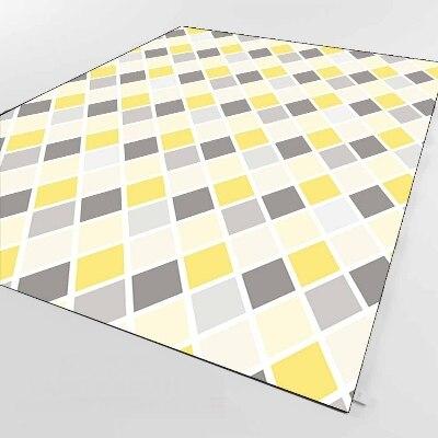 Else Dark Gray Yellow Tiles Lines Geometric 3d Print Non Slip Microfiber Living Room Decorative Modern Washable Area Rug Mat