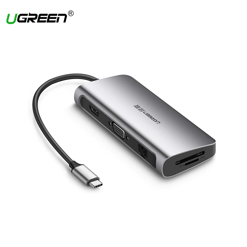 Ugreen USB-C Multifunction Adapter for MacBook Samsung Galaxy S9/Note 9 Huawei P20 Pro Type C USB 3.0 HUB Model 40873 usb hub 7 in 1 thunderbolt 3 adapter type c t3 40gb s sd micro sd card reader usb 3 0 hub 4k hdmi for macbook pro 13 portable