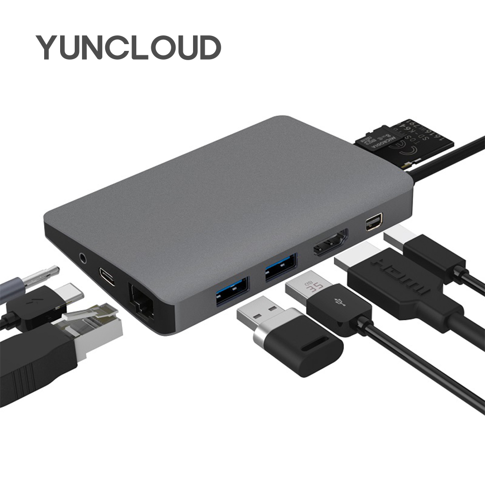 YUNCLOUD USB Type C 3.1 Hub to RJ45 Gigabit Ethernet Mini DP HDMI PD Power Adapter With 3.5mm Audio Card Reader for Mackbook цена и фото