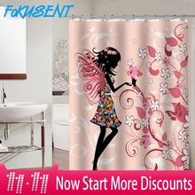 FOKUSENT New Design Colorful Girl Butterfly Flower Bird Polyester Fabric Waterproof Shower Curtains for Bathroom