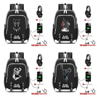 2018 Black Panther Backpacks USB Charge Headphone Jack Boy Girls Backpack Students book bag Teenagers travel laptop bag 25 style