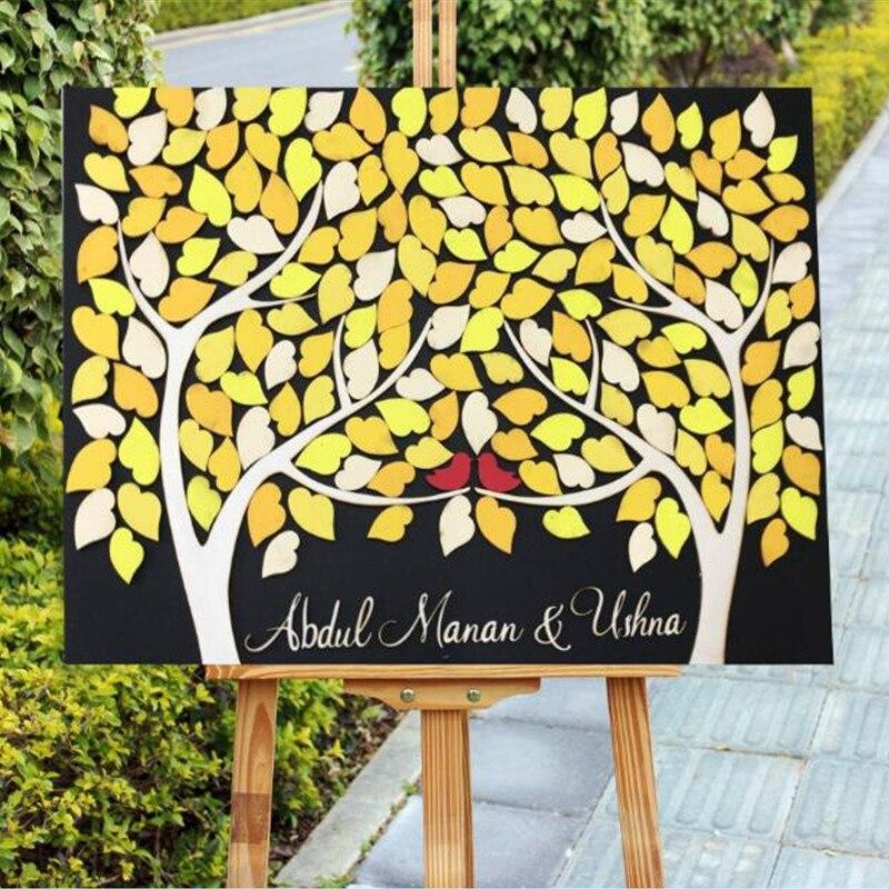 Livre d'invité de mariage personnalisé livre d'invité en bois alternatif Double arbre grandir en une chute livre d'invité rustique feuilles jaunes oiseaux rouges