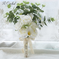 PEORCHID Romantic Spring & Summer Bridal Wedding Bouquets White Green Rose Artificial Flowers Hande Made Bridesmaid Bouquet 2019