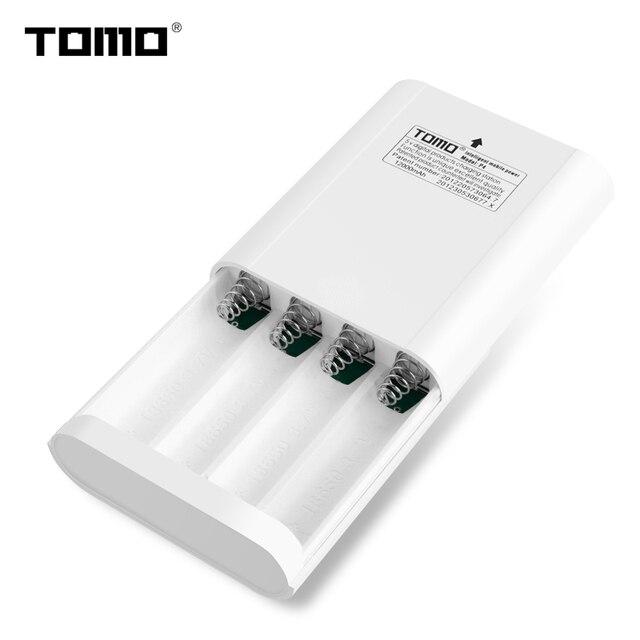 Tomo P4 Pin Lithium Sạc 18650 Công Suất Ngân Hàng Ốp Lưng Màn Hình LCD Hiển Thị Thông Minh Flash Đèn Báo