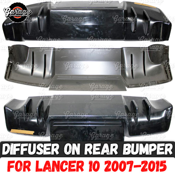 Diffuser for Mitsubishi Lancer 10 2007 2015 of rear bumper ABS plastic two pipes pad body