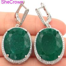 SheCrown Big Oval 22x18mm Real Green Emerald White CZ Ladies Present Silver Earrings 40x20mm