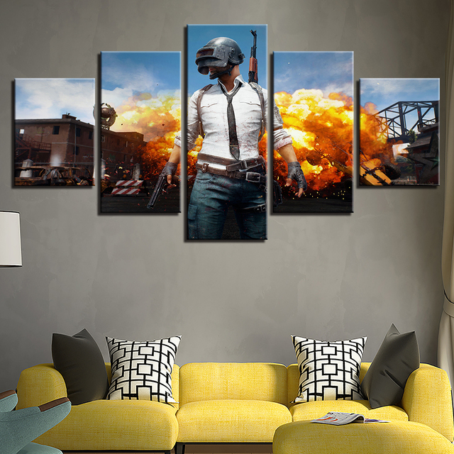 PUBG Hot Game Poster Jedi Survival Battle 5 Piece Canvas Painting Poster Print For Living Room Home Decoration No Frame Pictures 2