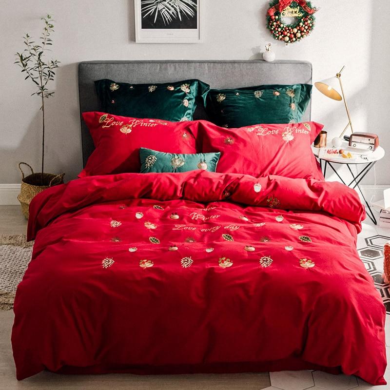100% Cotton 60s Sanding Material Bedding Set Queen Comforter Sets RUIYEE Christmas Element Bed Set Queen Size Bed Sheets Set