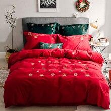 100% хлопок 60 s шлифовальный материал постельных принадлежностей королева кашне комплекты RUIYEE Рождество элемент постельное белье королевы Размер Простыни комплект