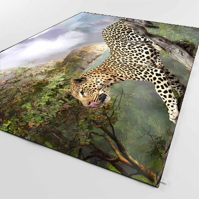 Else Green Tropical Forest Leopard Animals 3d Print Non Slip Microfiber Living Room Decorative Modern Washable Area Rug Mat
