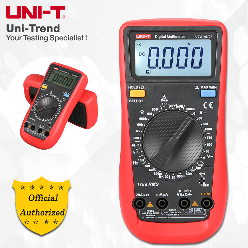 UNI-T UT890D/UT890C+ Manual range True RMS Digital Multimeter; Resistance/Capacitance/Frequency/Temperature Test uni t ut890c digital lcd multimeter true rms ac dc frequency palm size lcd backlight automotive temperature probe