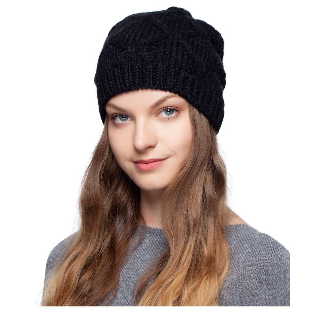 Cap of alpaca Noryalli (black) female hat cap noryalli light gray