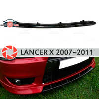 Center insert on front bumper for Mitsubishi Lancer X 2007-2011 ABS plastic body kit molding decoration car styling tuning