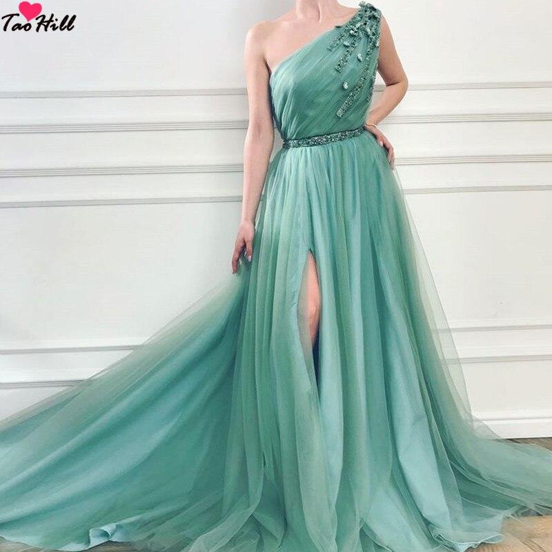 TaoHill une épaule longue robe de soirée vert plis fleurs une ligne haute fente perles taille Tulle robes de bal