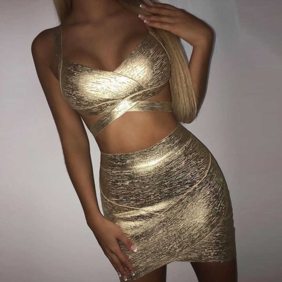 ADYCE 2019 New Summer Women Bodycon Bandage Sets Dress Vestidos Gold 2 Two pieces Set Top Deep V Celebrity Evening Party Dresses