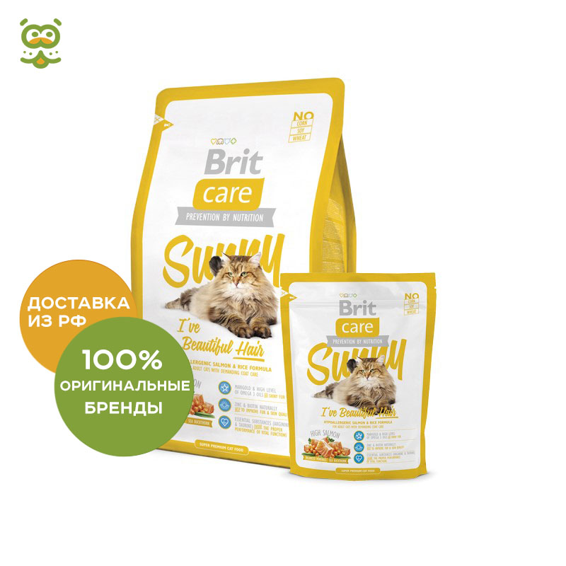 Cat food Brit Care Cat Sunny Beautiful Hair for cats for skin and hair care, Salmon, 400 g. цена