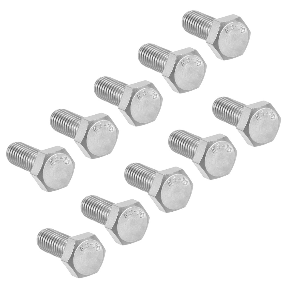 UXCELL 10Pcs Bolts M8 Thread 20/25mm 304 Stainless Steel Hex Head Screws Fastener For Home Office Appliance Ship Assembly