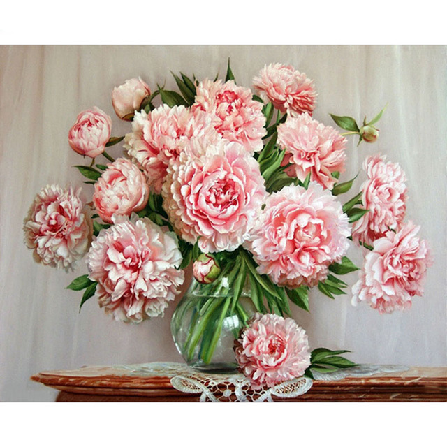 No Frame DIY Digital Oil Painting By Number Pink Flowers Home Decoration Wall Art Picture Acrylic Paint By Numbers On Canvas