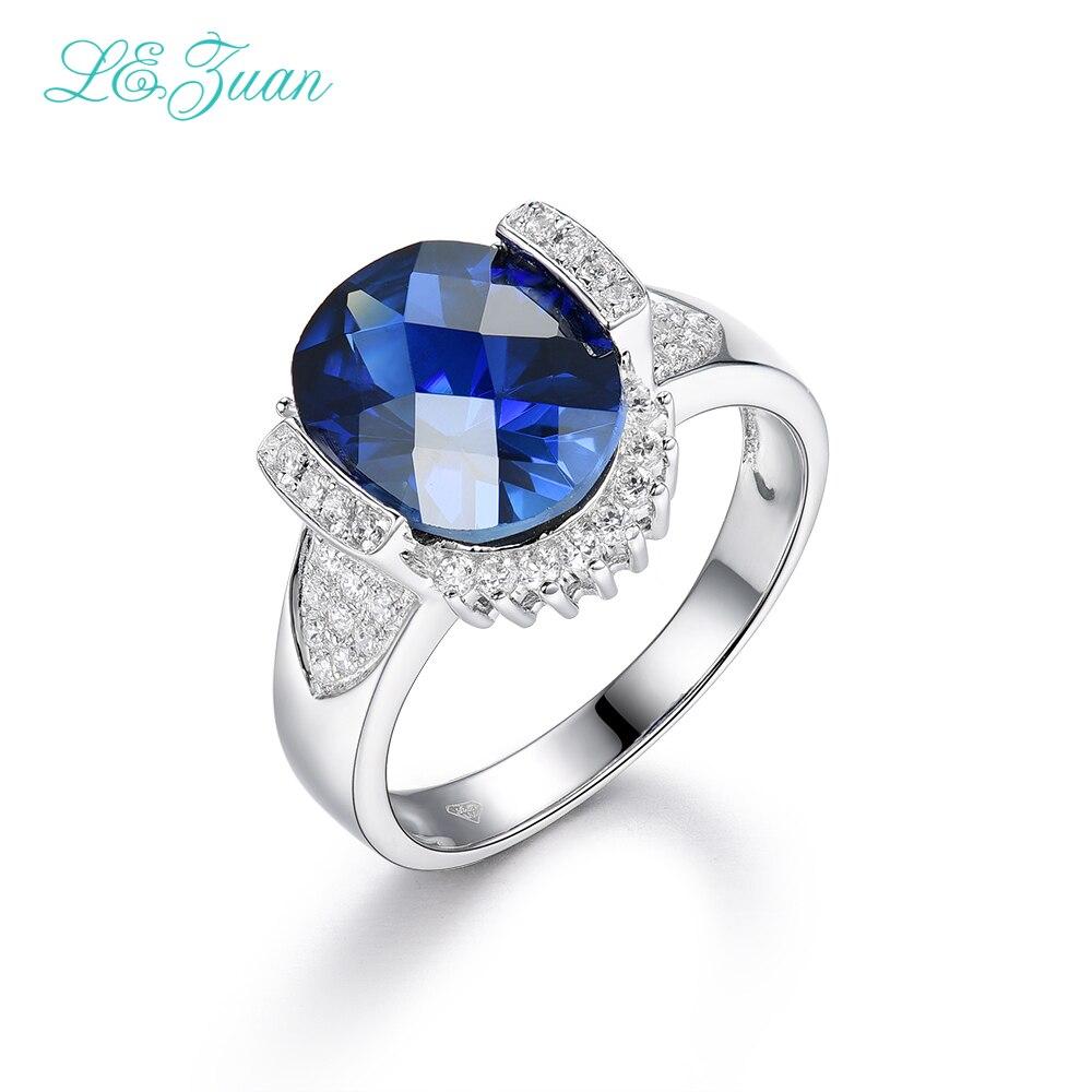 I&zuan 100% 925 Sterling Silver Fine Jewelry Sapphire Gemstone Luxury Rings For Women Checkerboard Cut Gems Ring R0050 W02