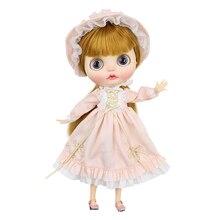 Neo Blythe Doll Pale Pink Vintage Dress with Hat & Socks