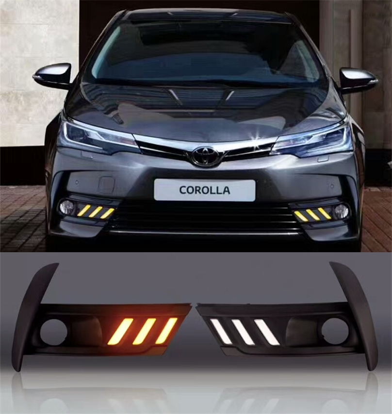 Led Daytime running lights for Toyota Corolla 2016 2017 Euro Day light fog lamp cover DRL with yellow turning signal function рижский рынок купить цветы ночью