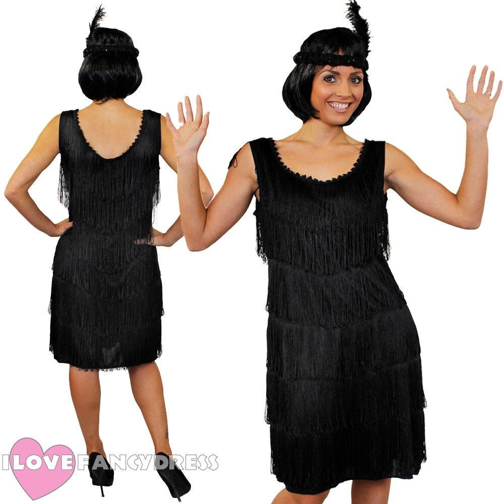 Headband Regular Adult Lady Black Flapper Charleston 1920/'s Dress with Tassels