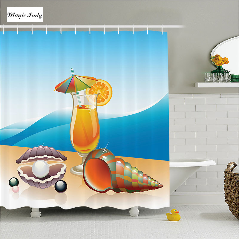 Shower Curtain Summer Bathroom Accessories Seashell Pearls