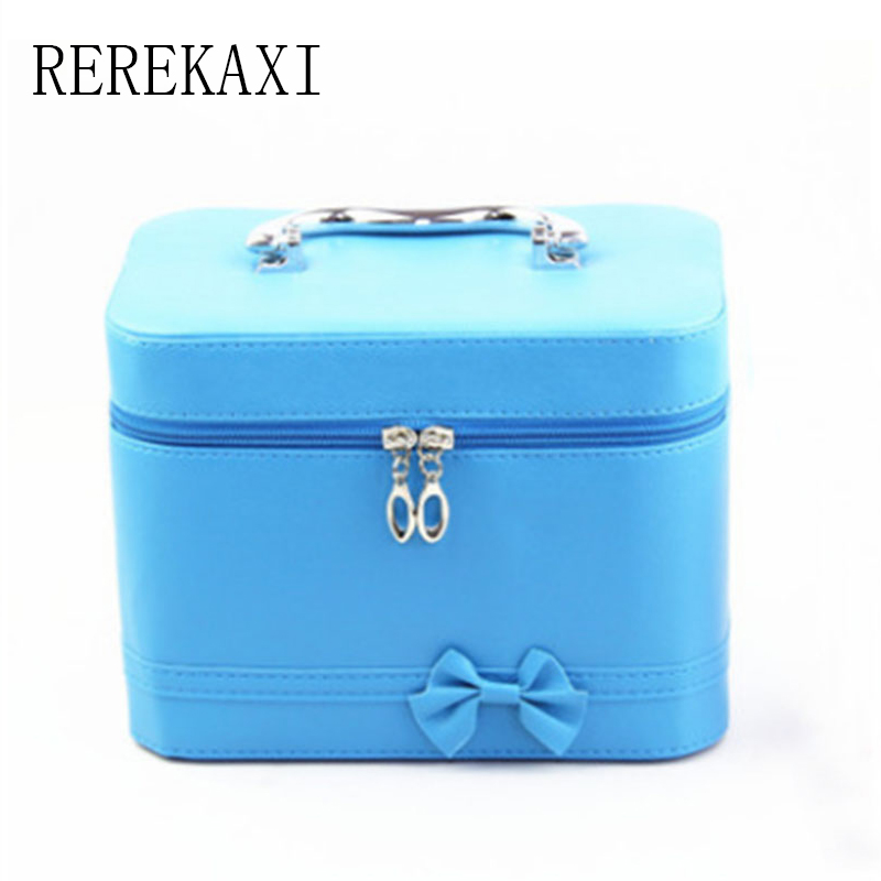 REREKAXI Bowknot Women's Leather Cosmetic Bag Handbag Portable Travel Makeup Case  Beautician Large Capacity Storage Box luxcel travel accessory fashion cosmetic case bag large capacity portable women makeup necessaire storage