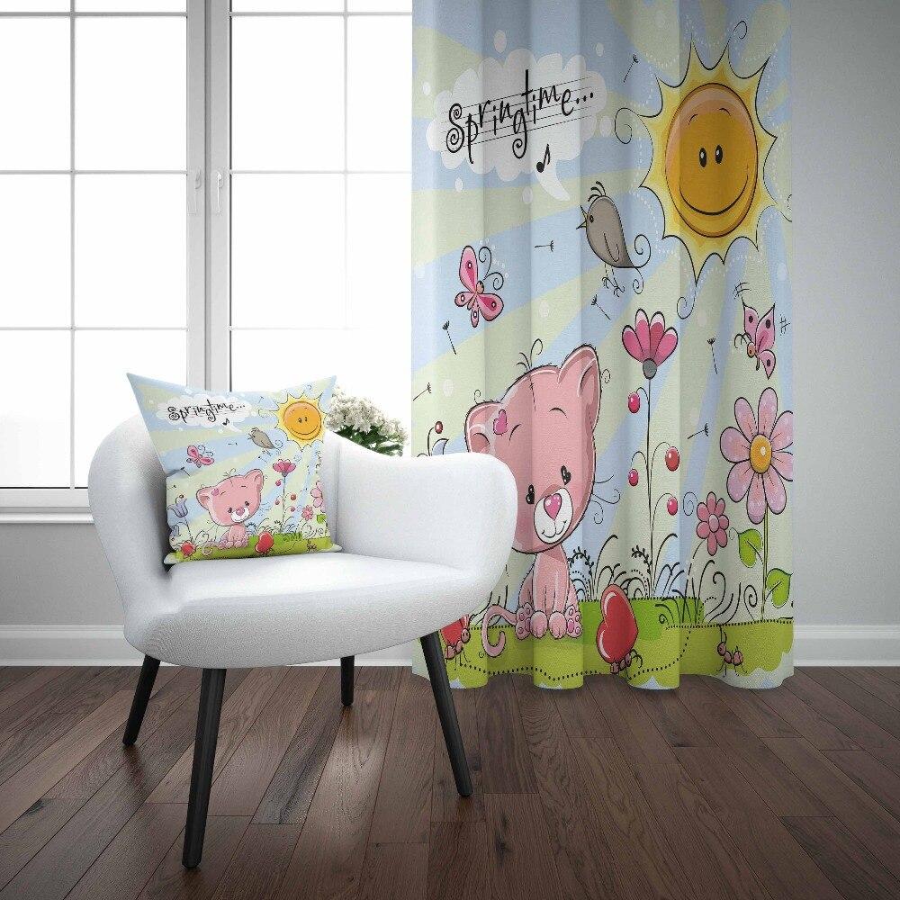 Autre plancher bleu printemps temps soleil fleurs rose chats impression 3d enfants bébé enfants fenêtre panneau ensemble rideau combiner cadeau taie d'oreiller