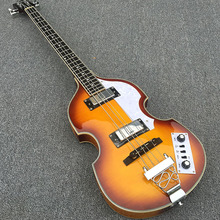 In Stock -Violin Electric Bass Guitar,Spruce Top Flame maple Side & Back,Semi Hollow Body Beatles Bass Guitarra, free shipping!