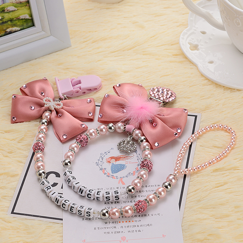Купить с кэшбэком Personalised-any name set stunning pink bling pram charm/stroller toy Rattles bed toy rattle pacifier clip holder dummy clip