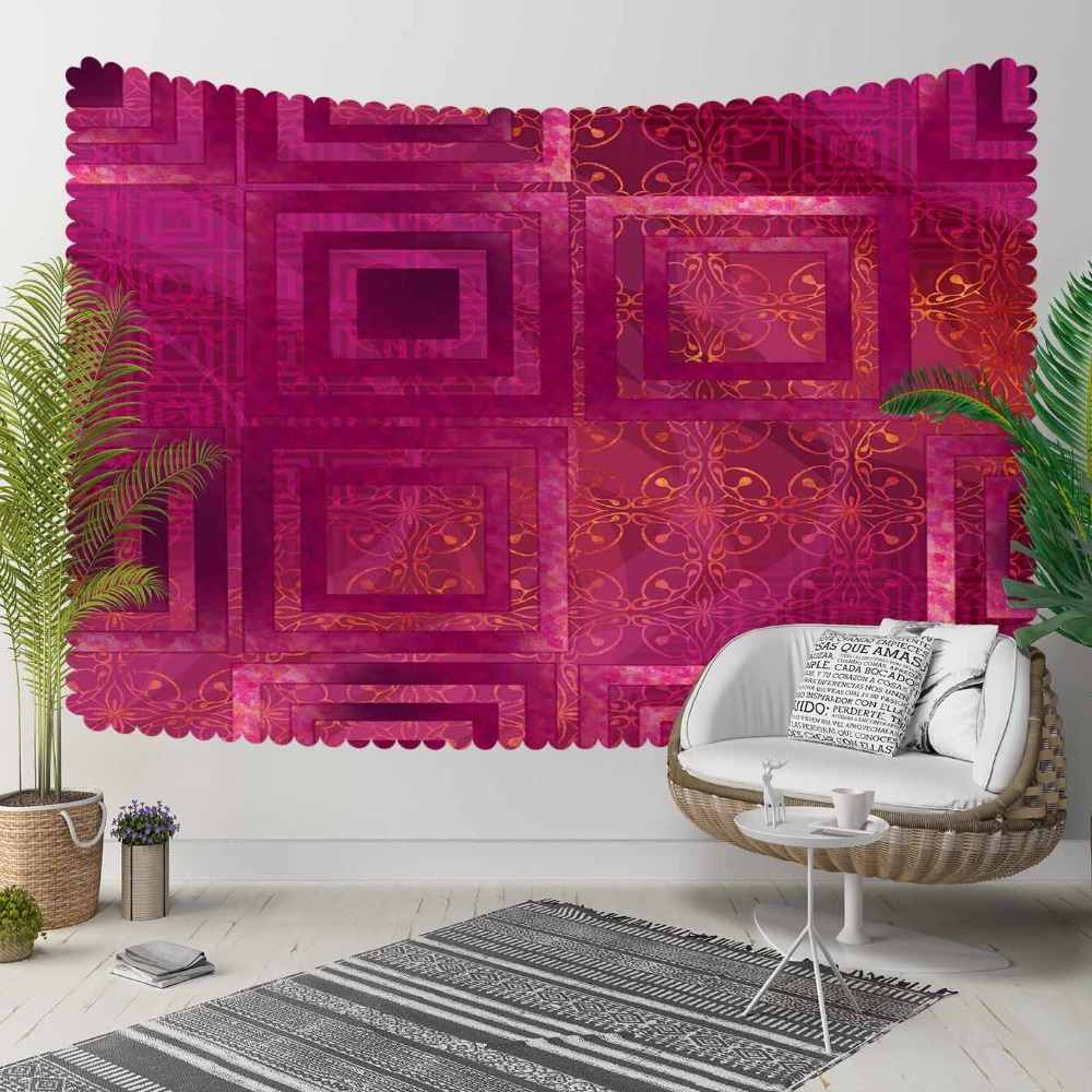 Else Damson Ethnic Geometric Nordec Modern Design 3D Print Decorative Hippi Bohemian Wall Hanging Landscape Tapestry Wall Art