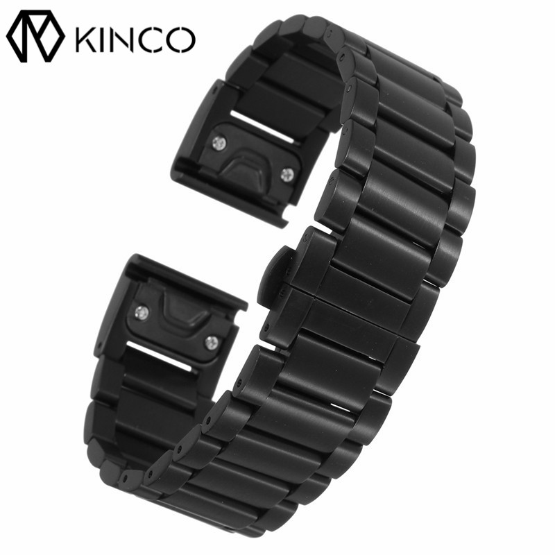 KINCO Black Titanium Steel Bracelet Strap Wrist Watch Wristband Bands with tools for Garmin Fenix 5 for Garmin Forerunner 935 garmin forerunner 935 black