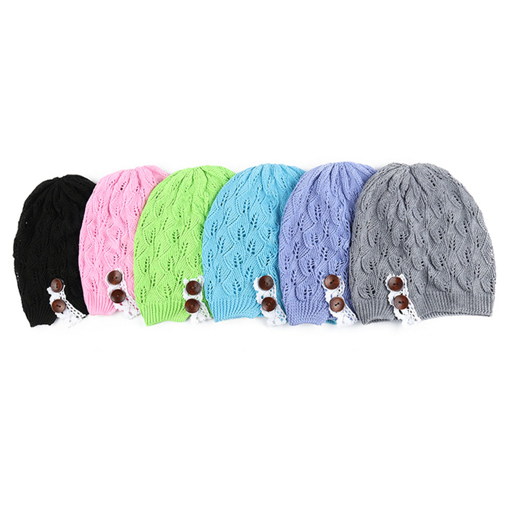 Fashion Spring Women Knitting Beanie Skullies Hat Casual Hollow Out Leaves Lace Button Wool Cap Female Baggy Warm Hat the new children s cubs hat qiu dong with cartoon animals knitting wool cap and pile